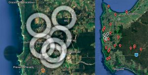 Margaret River encircled by Masked Owl breeding pairs as at summer 2019-20 Image Google Earth