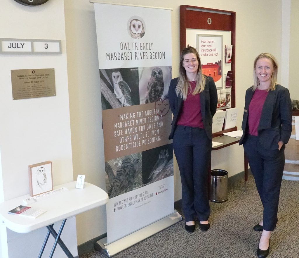 Amy Beaton and Janelle Koehler with Bank display 3July 2020